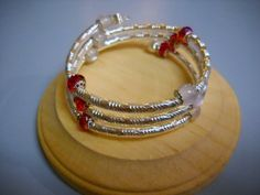 Ruby Red White and Silver BEADED Memory Wire by Beads4You2008,