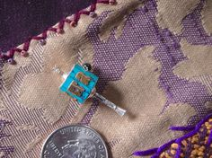 Miniature Turning Turquoise and Silver Metal by animadesigns (Craft Supplies & Tools, Jewelry & Beading Supplies, Pendants, dharma items, pendant, brass pendant, prayer wheel, prayer pendant, Buddhist, Buddha, prayer charm, prayer wheel pendant, prayer wheel charm)