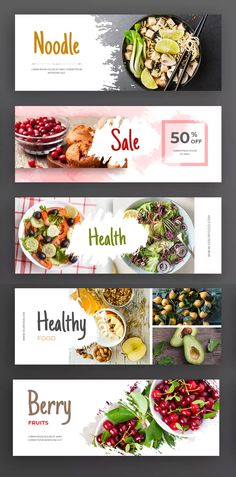 Healthy Food Facebook Cover Templates. Creative Facebook Cover Template suitable for social media website promotions, covers the categories of Business, Blog, Fashion, Shop, and Magazine. 5 awesome Facebook cover / banner templates Creative Facebook Cover, Facebook Cover Design, Facebook Cover Template, Shop Banner Design, Banner Design Inspiration, Poster Design Layout, Food Poster Design, Food Graphic Design, Food Design
