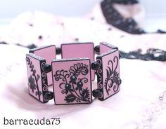 "Barracuda75, polymer clay tiled bracelet made using the appliqué technique. polymerclayfimo: Изделия - ""Векторный"" браслет. Филигрань."
