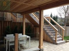 Patio with walkout basement. #patiostone #pvcdeck #glassrailings