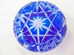 Cobalt Blue Cut to Clear Dish Rose Bowl or Vase by ellesh71