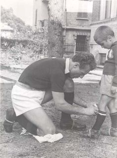 Grande Torino FC captain Valentino Mazzola with son Sandro (also a famous footballer and Italian international)