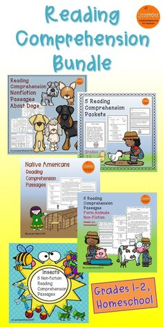 This reading comprehension bundle for grades 1-2 can be used in your class to help your students with reading comprehension skills as well as with test taking skills. It includes 5 resources listed below.  Please take a preview peek!   Included: Dog Breeds Native Americans Insects Farm Animals Backyard Stories
