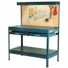"Multipurpose Workbench with Lighting and Outlet by HF. $117.99. Comfortable 34"" workbench height for working while seated or standing. Peg board, two drawers, and top and bottom shelves provide space for mounting, storing, and accessing tools.      Portable 120 volt, 14 watt, UL-listed cabinet light offers great visibility     Portable 125 volt, 15 amp, 1875 watt, UL-listed power strip features 3 three-prong grounded outlets for power tools and a generous 80"" power co..."