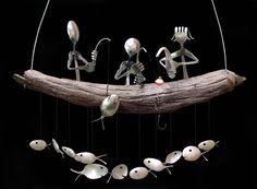 Familia pesca y cuchara de pescado carillón de viento por NevaStarr