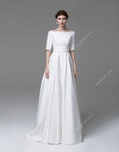 Velvet Wedding Dress, Unique Wedding Gown, Simple Wedding dress, 3/4 Sleeve…