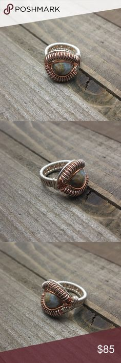 Fancy Jasper Sterling Silver, Copper Ring Handmade Fancy Jasper Sterling Silver & copper wire wrapped ring.  • Made to order; available in any size! • Also available in all Sterling or all copper.                        • Stone 10mm.  • Comes in a jewelry gift box with the stone's description. • Perfect for gifts! • We accept custom orders.  Handmade with L❤VE  🔹️Visit my website www.Lexiga.com🔹️ Lexiga Jewelry Rings