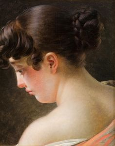 Head of a Young Girl. Anne-Louis Girodet de Roussy-Trioson (French, 1767-1824). Oil on canvas. Musée Fabre. Girodet joined the studio of Neoclassical titan Jacques-Louis David yet became a pioneer of French Romanticism. He won the Prix de Rome in 1789. Because Girodet's paintings were coldly sensuous and atmospheric, rather than spartan and heroic like David's, David disapproved. Girodet soon returned to Paris, where he earned his living by drawing illustrations and painting portraits.