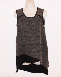 HABITAT XS 0 2 Sleeveless Top Asymmetrical High Low Black Brown Shirt Tunic #Habitat #Blouse