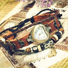 Woman Watch Brown Leather Ladies Girls Wristwatch Bangle Beaded Bracelet Quartz Heart Shape (GA0007). $15.99, via Etsy.