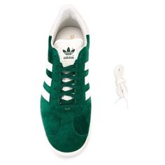 ADIDAS ORIGINALS Green Suede Gazelle OG Sneakers (120 AUD) ❤ liked on Polyvore featuring shoes, sneakers, suede lace up shoes, striped shoes, round toe sneakers, green shoes and suede shoes