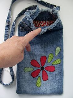 Recycled denim bag -- think wine tote!