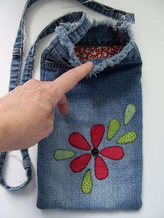Recycled denim bag -- think wine tote!
