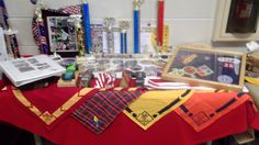 This is the table to display the scouts personally items he has collected through scouting....had IPAD on table running small slideshow from days of cubscout...put things out people may not know about scouting back all the way to beginning
