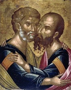 The Embrace of the Apostles Peter and Paul Ακοτάντος Άγγελος – Angelos Akotantos [died before Byzantine Icons, Byzantine Art, Religious Icons, Religious Art, Paul The Apostle, The Embrace, Best Icons, The Secret History, Art Uk