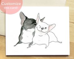 Frenchie Kiss French Bulldog Card  Cute Card with Dogs by InkPug