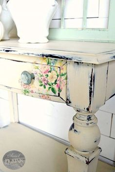 Floral decal on furniture