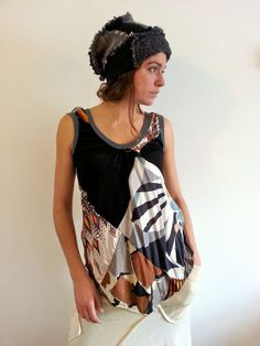 Monchrome Vintage Silk Patchwork Upcycled Silk Vest Tank Top                   Made in England UK