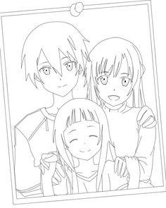 Kirito Asuna Yui Online Coloring Pages Sword Art