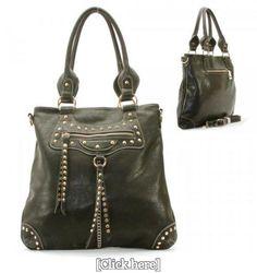 Balenciaga Style Spikes / Tassels Purse and Bag / Handbag / Black / Rchmmsbg98229blk