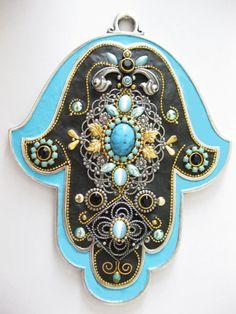 Hamsa Evil eye handmade Swarovski crystal Unique by IrinaSmilansky, $75.99