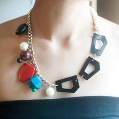 Multicolored Glass Pearl Wood Plastic Beaded Gold Statement Necklace