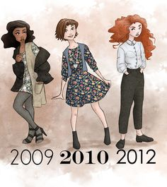 Disney princesses in the styles of the fashion of the year their movie premiered. - Tiana, Rapunzel and Merida: