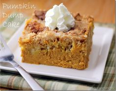 Pumpkin dump cake-one of my favorite fall recipes! The perfect combination of pumpkin pie and cake! I made this today.by far one of the BEST PUMPKIN desserts ever! My small group from church and my husband LOVED IT! Fall Desserts, Just Desserts, Delicious Desserts, Thanksgiving Desserts, Cupcakes, Cupcake Cakes, Dump Cake Recipes, Dessert Recipes, Pumpkin Recipes