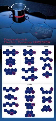 Kuppersbusch EKWE320W electric cooktop. It would look great in modern kitchen. The cooking zones and the 'touch' control unit both are shaped as hexagons or honeycombs that can be arranged into 28 different layouts. Price is from US $550 and up. The electric connection is standard for US or Europe. The flush-fitting honeycomb cook-top zones come in several designs