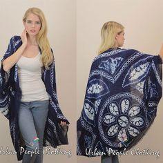 Navy TieDye Kimono Bohemian Boho Duster Scarf Trendy Hippie Top Romantic 1XL #UrbanPeopleClothing #Duster #Casual