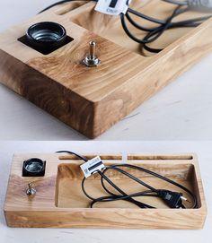docking station edison lamp DOCK59 handmade. oak by dtchss on Etsy