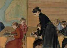 Primary school Magnus Enckell (Finnish, Oil on canvas. Enckell was one of the leading figures of the Golden Age of Finnish art. Primary School, Elementary Schools, Stockholm, Kindergarten, Teaching Quotes, Nordic Art, Religion, Vintage School, Matching Cards