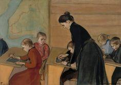 Primary school Magnus Enckell (Finnish, Oil on canvas. Enckell was one of the leading figures of the Golden Age of Finnish art. Primary School, Elementary Schools, Stockholm, Kindergarten, Nordic Art, Religion, Vintage School, Teacher Appreciation Week, Illustrations