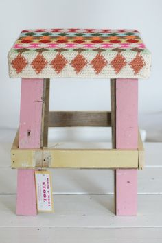 wood & wool harlequin stool by woodwoolstool on Etsy, €95.00