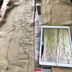 Hand painting a vestment for a reverend. I snapped a photo on my iPad then sketched the idea on the image. Now Im making it real on the fine linen. #ilovebeinganartist