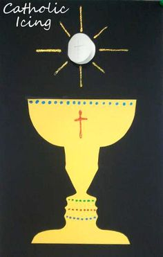 Chalice and Host craft to teach kids about the Eucharist. This is perfect for First Communion, or anytime! Check out the faces in the negative space- they are the silhouettes of the kids. :-)