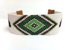 SALE Loom Beaded Green & White Bear Bracelet, Green Diamond Design Bracelet, Geometric Loom Beaded Bracelet