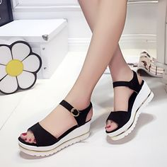 Summer Korean muffin fish head women sandals with platform sandals wild simple shoes shook with students in Women's Shoes, Shoes Heels Wedges, Fashion Boots, Sneakers Fashion, Korean Shoes, Cool Girl Style, Simple Shoes, Hijab Tutorial, Shoe Closet