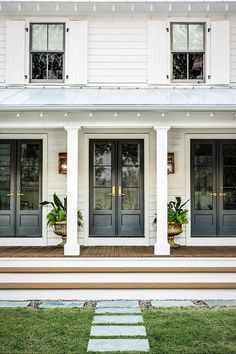 Farmhouse Exterior Design Ideas - The farmhouse exterior design completely reflects the entire style of your house as well as the household tradition also. The modern farmhouse style is not only for. Farmhouse Front Porches, Modern Farmhouse Exterior, Farmhouse Homes, Farmhouse Style, Farmhouse Architecture, Exterior French Doors, Front French Doors, French Doors To Patio, Bedroom With French Doors