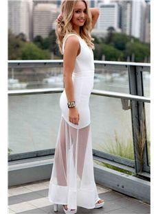 3d6fcdf46b6 White Sheer Mesh Hollow Maxi Dress Elegant Maxi Dress