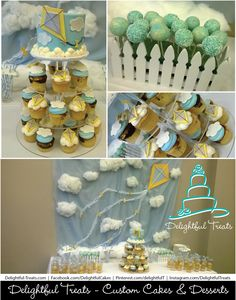Custom Baby Boy Shower Cake and Cakepops with Kites and Clouds Theme by Delightful Treats | #Custom #BabyBoy #Shower #Cake #Cakepops #Kites #Clouds #Theme #DelightfulTreats #KiteCupcakes #KiteCake #CloudCupcakes #Cakery #CustomCupcakes #BabyshowerCupcakes #BabyshowerCakepops #DelightfulTreats #CupcakeStand #Rental