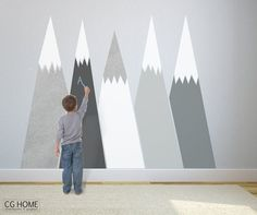 chalkboard MOUNTAIN view headboard Snow mountain for by CGhome
