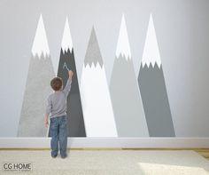 chalkboard MOUNTAIN view headboard Snow mountain for by CGhome