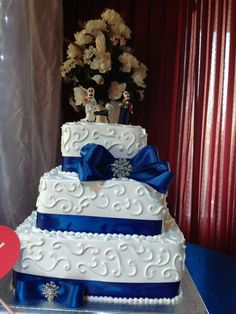 07.27.12 RR wedding  -Our cake with calavera toppers of us  our dog!  ...Inexpensive from Albersons... No need for expensive cake : fruit In The middle.... No fondant so you could eat it .. Yummy - LR