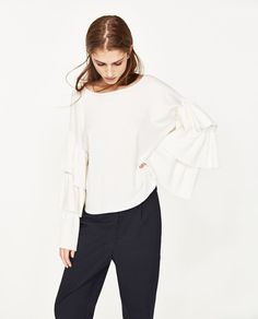 SOFT SWEATER WITH FRILLED SLEEVES-View All-KNITWEAR-WOMAN | ZARA United States