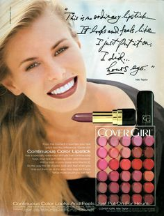 """Moldel: Niki Taylor for Cover Girl. I love the quote: """"This is no ordinary lipstick. It looks and feels like I just put it on. hours ago"""" This ad appeared in New Woman (October Vintage Makeup Ads, Retro Makeup, Vintage Beauty, Vintage Ads, Vintage Vanity, Vintage Perfume, Vintage Magazines, Vintage Girls, Burgundy Lipstick"""