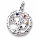 Silver Charm. You may select the stones to match your family's birthstone, select 5-7 stones and fill the tree. Style # 0808 See more silver charms at http://www.charmnjewelry.com/sterling-silver-charms.htm