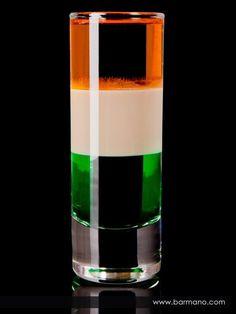 St. Patrick's Day Irish Flag Cocktail |       1 oz (3.38 cl) Brandy      1 oz (3.38 cl) Crème de Menthe      1 oz (3.38 cl) Bailey's Irish Cream (Irish Cream)        To make an Irish Flag, a popular St Patricks day drink, layer in order the creme de menthe, followed by irish cream and finally brandy.
