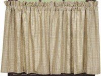 """Country Sampler 24"""" Curtain Tiers by Primitive Home Decors. $23.95. Window Treatments are Fully Lined for Durability. 100% Cotton Fabric. Country Sampler 24"""" Curtain Tiers 72"""" Wide x 24"""" Long Window treatments are 100% cotton and fully lined. The primitive Country Sampler design from IHF is a soft linen embroidered with crows, sheep, stars and willow trees."""
